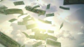 Éxito empresarial que llueve el dólar americano de los E.E.U.U. metrajes