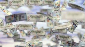 Éxito empresarial que llueve el dólar americano de los E.E.U.U. almacen de metraje de vídeo