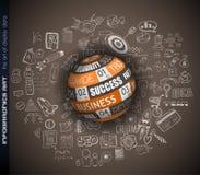 Éxito en fondo conceptual del negocio con una esfera 3D Imagen de archivo