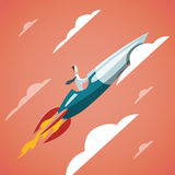 Éxito en negocio - el hombre de negocios está volando en el cohete para arriba adentro stock de ilustración