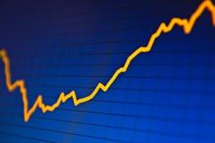 ÉXITO. Gráficos de la bolsa en la pantalla Imagen de archivo libre de regalías