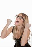 Éxito, mujer acertada que celebra imagen de archivo libre de regalías