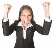 Éxito/mujer de negocios del ganador aislada foto de archivo libre de regalías