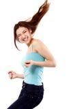 Éxito que gesticula extático feliz de la muchacha adolescente que gana. Fotos de archivo libres de regalías