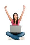 Éxito sonriente feliz de la muchacha Foto de archivo libre de regalías