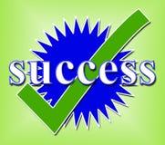 Éxito Tick Means Succeed Checked And Triumph ilustración del vector