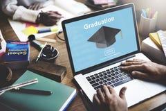 Éxito Websit del logro de la universidad del estudio de la educación de la graduación fotos de archivo