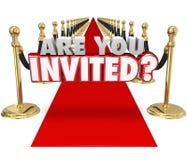 Êtes vous avez invité l'événement spécial exclusif de tapis rouge des mots 3d illustration libre de droits