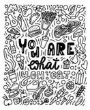 Êtes vous ce que vous mangez Affiche tirée par la main de doddles illustration libre de droits