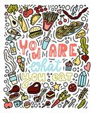 Êtes vous ce que vous mangez Affiche tirée par la main de doddles illustration de vecteur