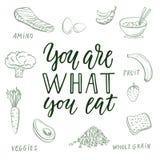 Êtes vous ce que vous mangez ! Citation et fond calligraphiques au sujet de la consommation saine illustration stock