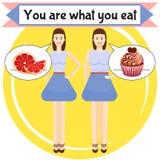 Êtes vous ce qui vous mangez l'affiche illustration de vecteur