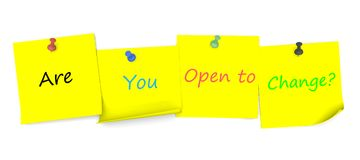 Êtes vous vous ouvrez au changement, message sur le papier de note avec la goupille Photographie stock