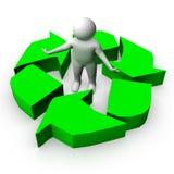 être humain 3d avec un symbole d'écologie Photographie stock libre de droits