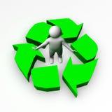 être humain 3d avec un symbole d'écologie Image stock