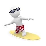 être humain 3D sur la planche de surfing surfante Images stock