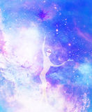 Êtres spirituels dans l'univers Effet de peinture et de graphique illustration libre de droits