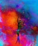 Êtres spirituels dans l'univers Effet de peinture et de graphique Photographie stock