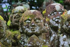 ˊthe stone statues representing disciples of Buddha. The Otagi Nenbutsu ji Temple, Kyoto, Japan Royalty Free Stock Image