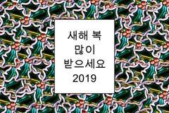 """새í•κάρτα καλή χρονιά «ë ³ µ ë§Žì » ë°› ìœ ¼ ì """"¸ìš» 2019 σε Κορεάτη με τα φύλλα ελαιόπρινου ως υπόβαθρο διανυσματική απεικόνιση"""