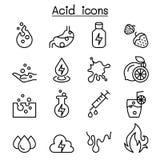 Ícone ácido ajustado na linha estilo fina ilustração stock