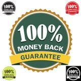 Ícone 100% traseiro da garantia do dinheiro Foto de Stock Royalty Free