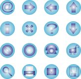 ícone 16 ajustado - azul Fotos de Stock Royalty Free