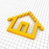 Ícone 3d Home na grade Imagem de Stock