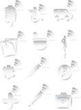 Ícone 3D médico ajustado - preto e branco Fotografia de Stock Royalty Free