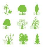 Ícone abstrato da coleção da árvore Imagens de Stock Royalty Free