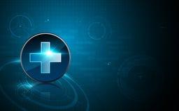 Ícone abstrato dos cuidados médicos no fundo do conceito da inovação do teste padrão da tecnologia Imagens de Stock