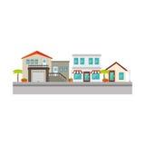 Ícone agradável da rua da vizinhança ilustração stock