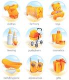 Ícone ajustado - artigos do bebê. Aqua Foto de Stock Royalty Free