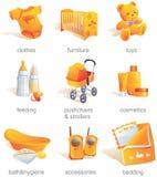 Ícone ajustado - bens do bebê, artigos.   Fotografia de Stock Royalty Free
