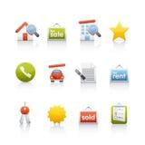 Ícone ajustado - bens imobiliários Fotos de Stock