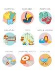 Ícone ajustado - categorias de produtos do bebê Foto de Stock