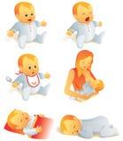 Ícone ajustado - cenas da vida do bebê. Mim ilustração stock