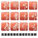 Ícone ajustado com árvore e símbolos Foto de Stock Royalty Free
