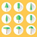 Ícone ajustado da árvore lisa Imagens de Stock