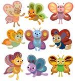Ícone ajustado da borboleta dos desenhos animados Imagens de Stock