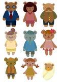 Ícone ajustado da família do urso dos desenhos animados Fotos de Stock Royalty Free