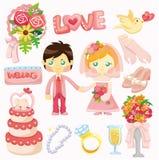 Ícone ajustado do casamento dos desenhos animados Imagem de Stock Royalty Free