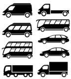 Ícone ajustado do transporte no fundo branco Imagem de Stock Royalty Free
