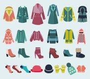 Ícone ajustado do vetor da roupa e dos acessórios do inverno Fotografia de Stock