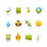 Ícone ajustado - ecologia Imagens de Stock