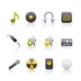 Ícone ajustado - equipamento audio Fotos de Stock