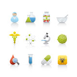 Ícone ajustado - médico e farmácia Foto de Stock