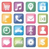 Ícone ajustado para a aplicação móvel · Forma quadrada ilustração royalty free