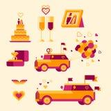 Ícone ajustado para uma celebração do casamento Ilustração Royalty Free