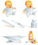 Ícone ajustado - saúde do bebê. Illust Fotografia de Stock